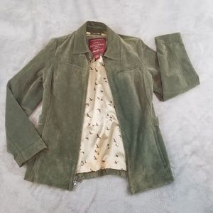 Eddie Bauer Olive Green Suede Jacket Surplus M